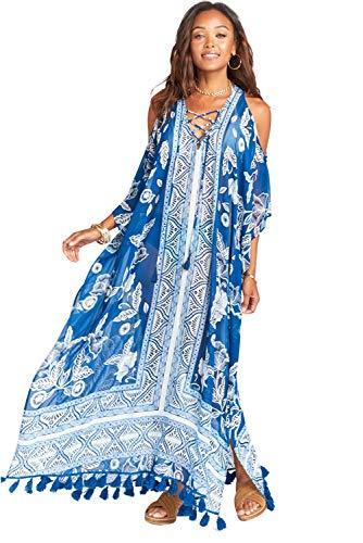 Copricostume Mare Donna Vestito Lungo Estate Boho Hippie Kaftano Chiffon Tunica Etnica Kimono Floreale Pareo Indiano Caftano Africano Moda Abito Manica 3/4 da Spiaggia Costumi da Bagno Bikini Cover Up