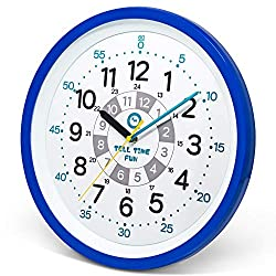 Tell Time Fun Large Kids Silent Analog Teaching Wall Clock. Kids Bedroom, Playroom, Study Room, Living Room, Classroom. Educational Material for Parents and Teachers. (Ocean Blue)