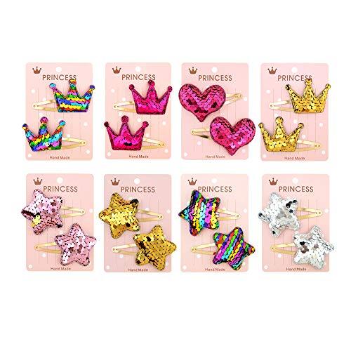 Gobesty Haarspangen Mädchen, 16 Stück Mehrfarbig Mädchen Stern Krone Herzform Pailletten Haarklammern Haarclips für Damen Mädchen Kinder Kopfschmuck Haarschmuck