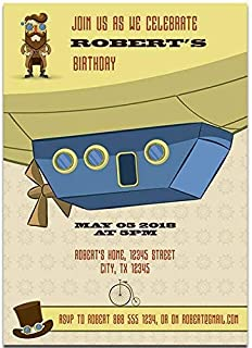 Steampunk Character and Cepelin Birthday Party Invitations