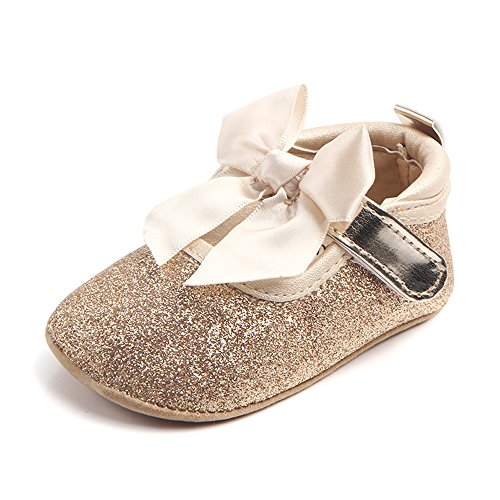 Elaco Infant Baby Girls Moccasins Anti-slip Soft Sole Princess Shoes (12~18 Month, Gold)