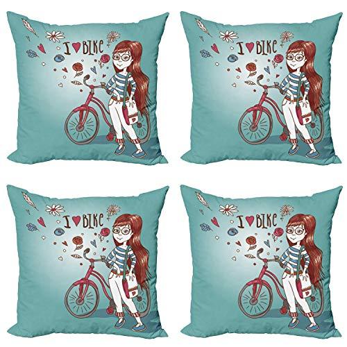 ABAKUHAUS Dibujos Animados Set de 4 Fundas para Cojín, Muchacha con la Bici, Estampado Digital en Ambos Lados y Cremallera, 45 cm x 45 cm, Rose secada y Azul Claro