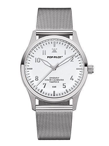 Pop Pilot Damen Analog Quarz Uhr mit Edelstahl Armband Cuz
