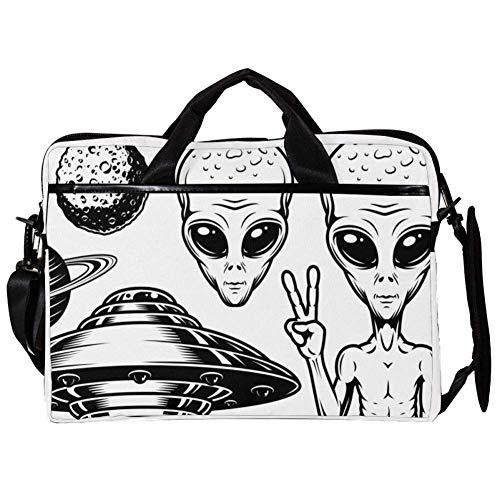 Alien UFO 02 Laptop Case Shoulder Bag for Notebook Computer Tablet with Adjustable Shoulder Strap Canvas Messenger Carrying Briefcase Handbag Sleeve for Woman,Man 15x11x1inch