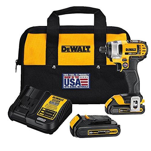 DEWALT - DEWDCF885C2 20V MAX Cordless Drill Impact Driver Kit, 1/4-Inch (DCF885C2) yellow/black