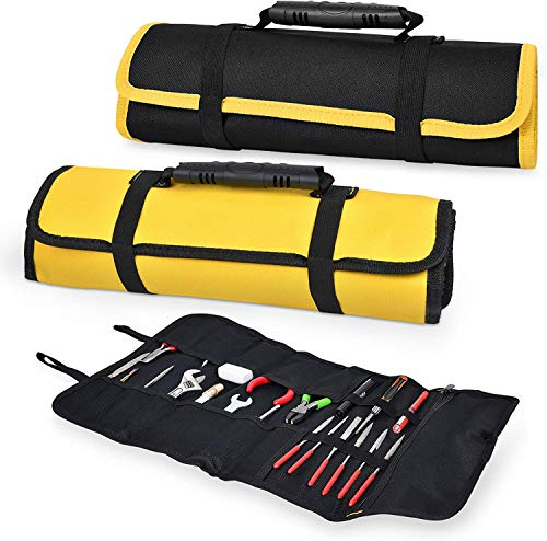 2 Pack Canvas Roll Up Tool Bags, Multi-Purpose Tool Pouch with Zipped Compartments Heavy Duty Hanging Tool Organizer for Wrench Screwdriver Tool Storage