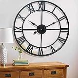 YORKING Wanduhr Metall Wand Wohnzimmer Uhr Dekouhr Vintage Designuhr Schwarz 60 cm für Inneneinrichtung Wohnzimmer Küche