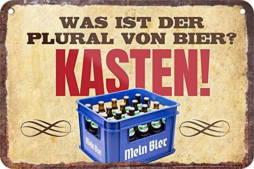 """Blechschilder Bier lustiger Spruch: """"was IST DER Plural VON Bier? Kasten!"""" Deko Hängeschild für Bar Theke oder Pub Geschenkidee für Deine Trink & Sauf Freunde 18x12 cm"""