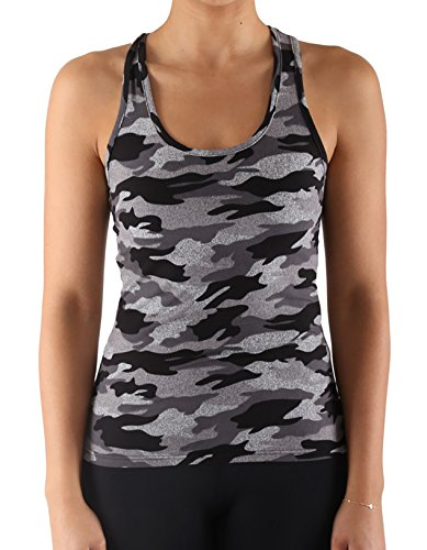 Women's Yoga Sports Tank-Top and Bra with Removable Pads Camouflage Print Workout Crop Top (VCMTT-Grey, S/M)