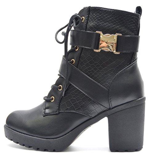 Vain Secrets Kayla Damen Stiefeletten Worker Boots mit Blockabsatz und Profil Sohle (37)