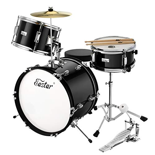 Eastar 16 inch 3 Piece Kids Drum Set Kit with Throne, Cymbal, Pedal & Drumsticks, Mirror Black (EDS-285B)