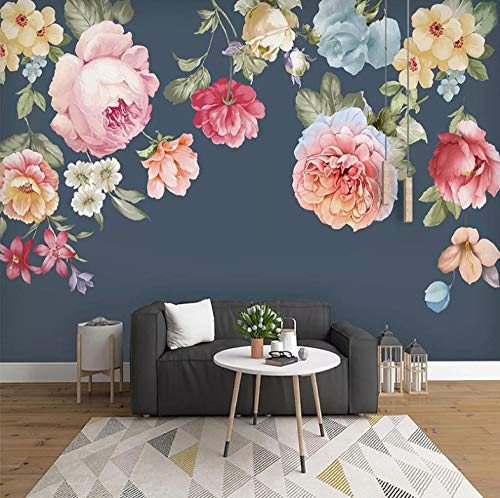 Fotobehang met 3D-effect, behang, modern, enorme afbeelding, woonkamer, slaapkamer, tienerkamer, decoratie, Hd-canvas, moderne handgetekende bloemen 350x250cm
