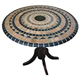 Palos Designs Vesuvius Stone Pattern Mosaic Table Cover -  Fits Round 36 Inch To 48 Inch Tables  - Blue And Tan Design