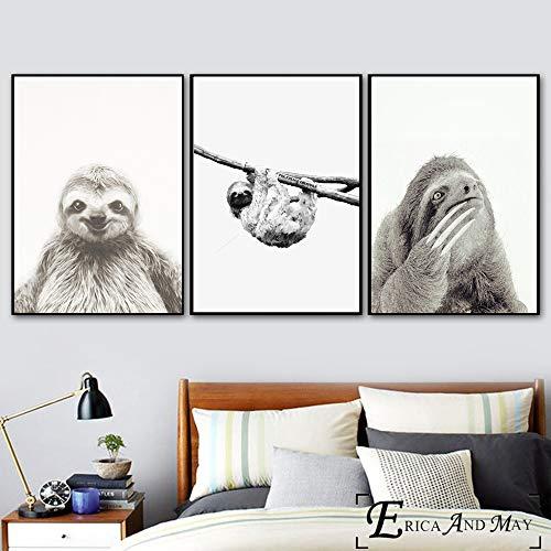 ganlanshu Faule Schwarzweiss-Tiermalerei Malt auf Leinwand Moderne Plakatwandkunst Wohnzimmerdekoration,Rahmenlose Malerei-50X75cmx3