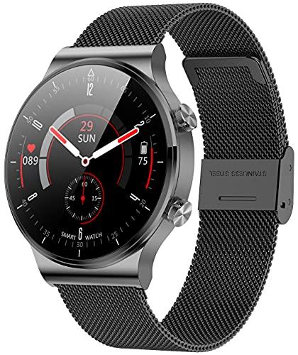 ANMI Smartwatch Uomo Donna,Orologio Fitness Uomo Donna,Elegante Acciaio Smart Watch Bluetooth Digitale Cardiofrequenzimetro da Polso Contapassi Impermeabile IP67 Sportivo Activity Tracker(Nero)