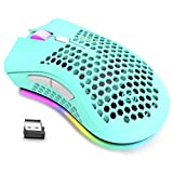 Wireless Lightweight Gaming Mouse, Ultralight Honeycomb Mice with RGB Backlit, 7 Button, Adjustable DPI, USB Receiver, 2.4G Wireless Rechargeable Ergonomic Optical Sensor Mouse for PC Mac Gamer(green)