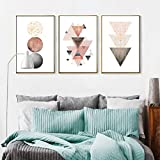 YDH Moderne abstrakte rosa Mondmalerei Geometrie rundes