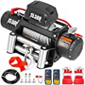 VEVOR Electric Winch 15500lb Load Capacity Truck Winch Compatible with Jeep Truck SUV 93.5ft/28m Cable Steel 12V Power Winch with Wireless Remote Control, Powerful Motor for ATV UTV Off Road Trailer