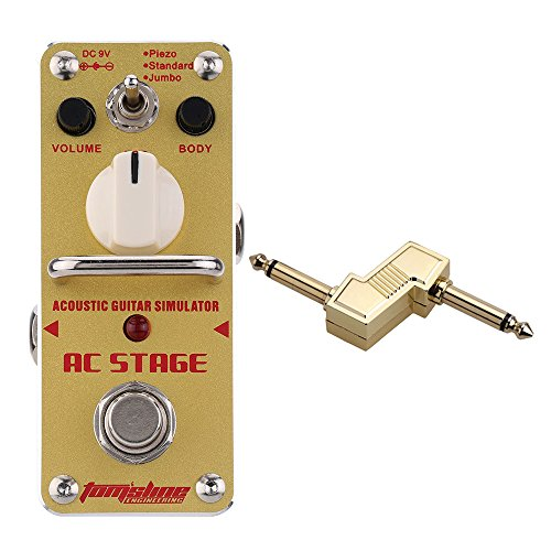 AROMA AAS-3 AC Stage Acoustic Guitar Simulator Guitar Effect Pedal with 1/4' Plug Zinc Alloy Connector