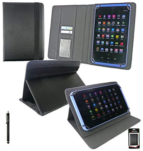 Emartbuy Black Stylus + Dell Venue 8 Pro 5855 8 Inch Tablet Universal Range (8-9 Inch) Black Carbon PU Leather Multi Angle Executive Folio Wallet Case Cover With Card Slots