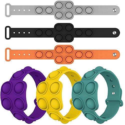 Skovlys 6packs pop Fidget Sensory Toys, Wearable Finger Pressure Silicone Bracelet,Decompression...
