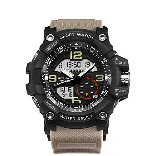 Reloj electrónico deportivo moda con retroiluminación LED, correa silicona 30 m Relojes analógicos militares al aire libre a prueba agua, Movimiento electrónico japonés Reloj pulsera para hombres ocio