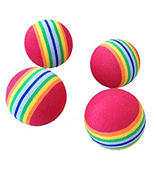 PET SHOW 10pcs 1.38  Red Rainbow Cat Toy Balls Soft EVA Foam Interactive Indoor Kittens Favorite Toys 35mm Dia Small Dogs Puppies Toy Balls Bulk Activity Chase Quiet Play Sponge Ball