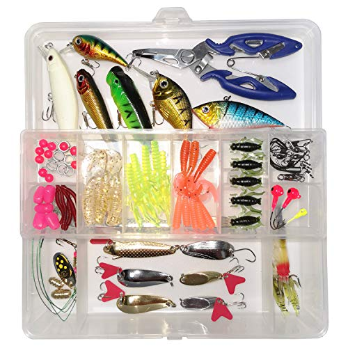 WDG Fishing Lures Set,Fishing Lure,Fishing Bait for Trout,Bass,Salmon Including Lures Hook,Plastic Worms,CrankBait,Topwater Lures with Fishing Pliers Scissors 85PCS