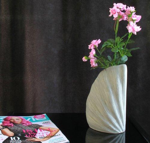 Leewadee Sidney S - Vaso Decorativo per Fiori, in Ceramica, Colore: Bianco, 21 cm