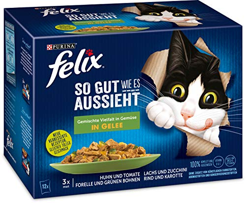 FELIX Katzennassfutter So gut wie es aussieht in Gelee Gemischte Vielfalt mit Gemüse, 6er Pack (6 x 12 x 85g) Portionsbeutel