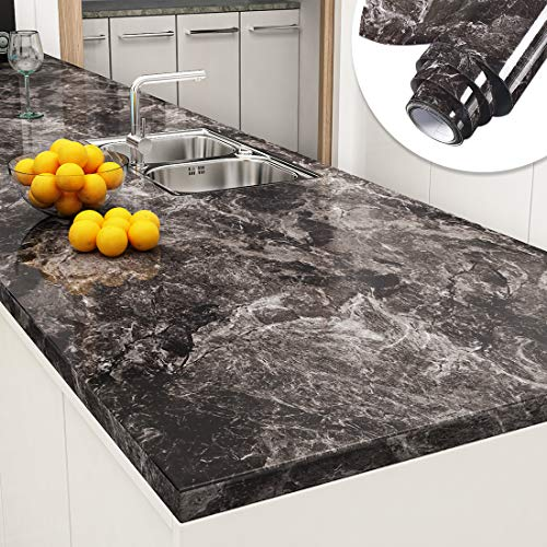 Yenhome Faux Marble Counter Top Covers Peel and Stick 24 x 118 inch Sandstone Black Brown Marble Wallpaper for Countertop Peel and Stick Wallpaper Self Adhesive Shelf Liner for Kitchen Cabinets Cover