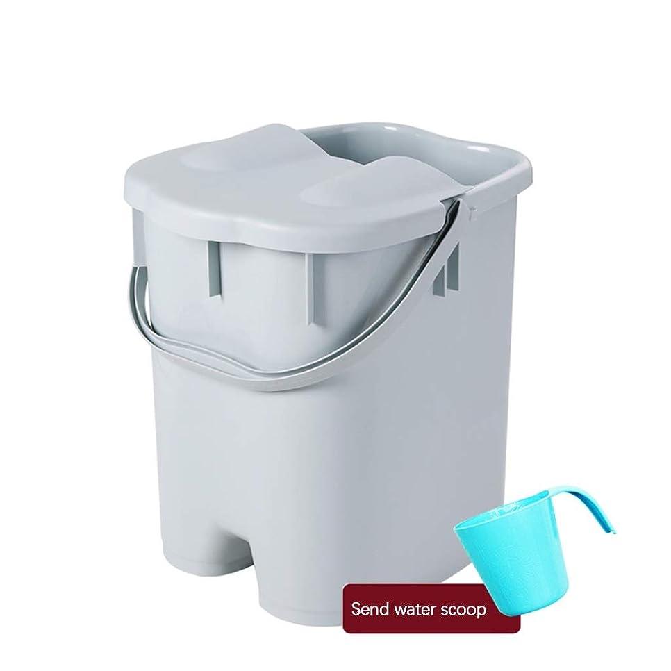 思い出させるバイオレット中性BB- ?AMTポータブルマッサージ浴槽プラスチック足湯バケツ付き蓋保温足風呂盆地大人スパボウル世帯 0409 (色 : Gray, サイズ さいず : 27*31*41cm)