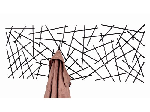 Haku Wandgarderobe Sticks 42862 mit 6 Garderobenhaken Schwarz 100cm Breit