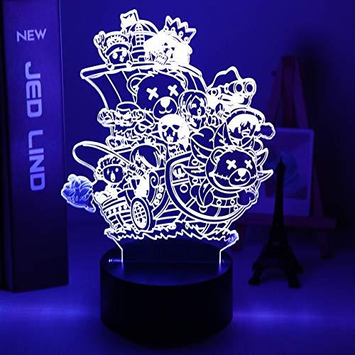 Luz de noche 3d One Piece Monkey D Luffy Led que cambia de color Usb con pilas Lámpara de noche Decoración de dormitorio Luz de noche para niños, 7 colores sin control remoto, B