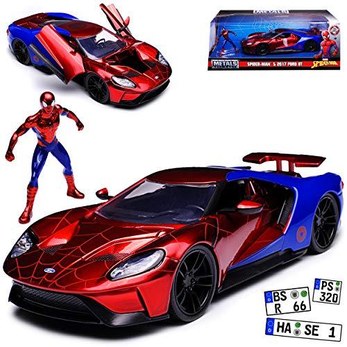 Ford GT Spiderman Marvel Avengers Rot Ab 2017 1/24 Jada Modell Auto mit individiuellem Wunschkennzeichen