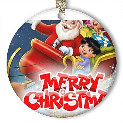 EaYanery Santa Sleigh Navidad Flying Village Ornamento (redondo) Personalizado de cerámica vacaciones Navidad ornamento Ideas 2019