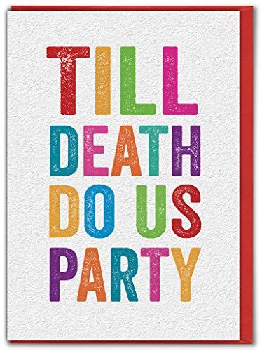 Grappige Humorous 'Tot de dood ons doen feest' trouwkaart