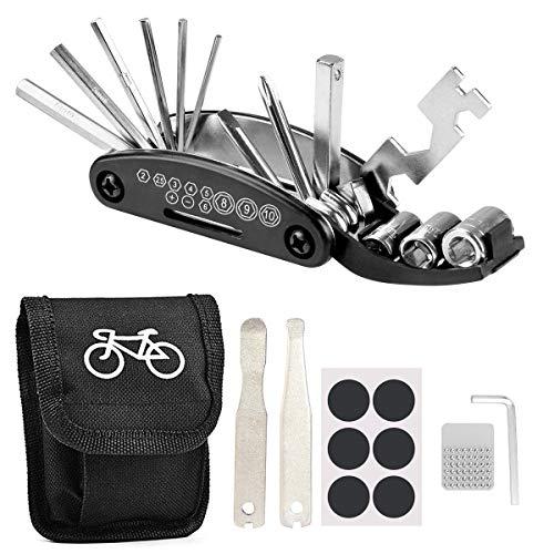 LncBoc Bicicleta Multiusos Herramientas, 16 en 1 Kit Reparación de Pinchazos Bicicleta con Kit de Parche y Palancas, Herramienta Bici Multifunción Portátil Compacta
