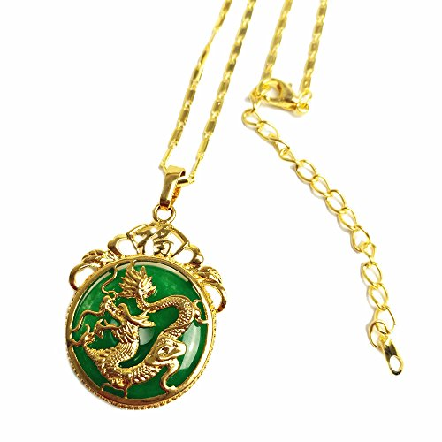 MCSAYS Chinese AAA Tibet Gold Green Jade Dragon Malay Jade Pendant Necklace & Pendants Pendent Gift(Bamboo Chain)