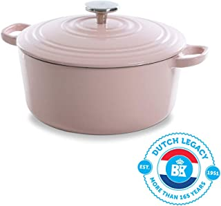 BK Cookware H6078.524 BK Bourgogne Dutch 24 cm/4.2L, hierro fundido, revestimiento esmaltado, tapa con anillos de goteo, inducción/horno/lavaplatos, color rosa