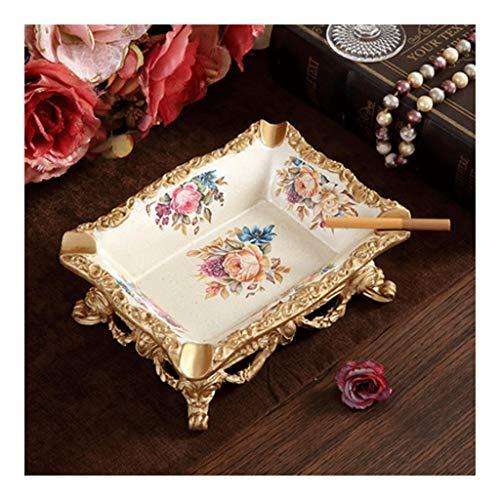 WPBOY Cenicero de resina pintado a mano, cenicero de cigarrillos en relieve, apto para regalos, para el hogar, sala de estar, mesa, hermoso cenicero de moda (color: Sifang cientos de flores)