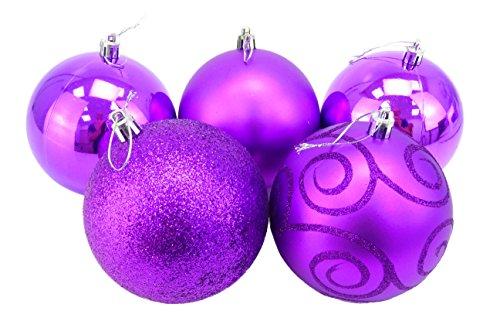 Christmas Concepts® Pack of 5 - Boules de Noël 100mm Extra Grandes - Boules Brillantes, Mates et pailletées décorées (Violet)