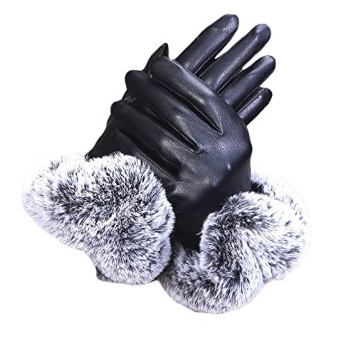 Guantes de Cuero Negro sólido para Mujer Otoño Invierno Lady Mitones cálidos a2-One Size