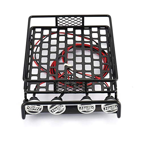 RC Car Universal Roof Rack Luggage Carrier With 4 Round LED Lights 1/10 RC Rock Crawler Axial SCX10 D90 TRX-4 - Black