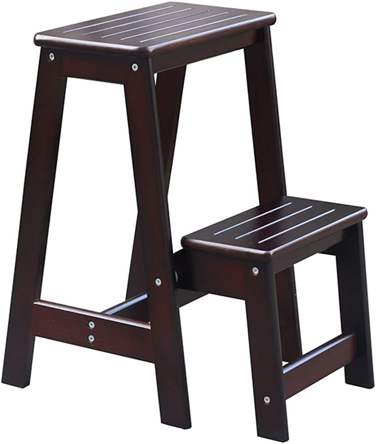 RMJAI Ladder Stool Ladder Stool Solid Wood Multifunction Foldable Thick Plate Non-Slip Design Environmentally Friendly, 2-Step Ladder (color   Brown)