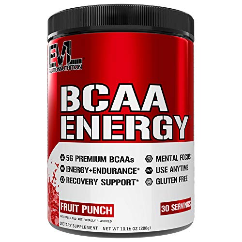Evlution Nutrition BCAA Energy - Essential BCAA Amino Acids, Vitamin C, Natural Energizers for Performance, Immune Support, Muscle Building, Recovery, B Vitamins, Pre Workout, 30 Serve, Fruit Punch