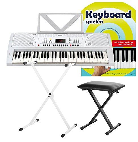 Funkey 61 Keyboard Weiß inkl. höhenverstellbarem Ständer, Sitzbank und Keyboard Basics Lehrbuch (61 Tasten, 100 Klangfarben, 100 Rhythmen, 8 Demo Songs, Netzteil, Notenständer)