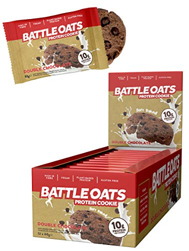 Battle Oats Vegan Protein Cookies - Healthy Snack, Gluten Free, 12 x 60 g - Double Chocolate