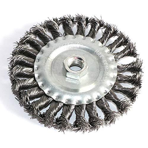 LiuliuBull Cepillo de Pulido Tornillo M14 Cepillo de Rueda de Alambre de 5 Pulgadas Twist-anudó 125 mm para Molinillo de ángulo Alambre de Acero y Metales de aleación Cepillo de Alambre Rizado