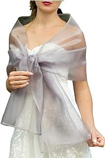 Châle Écharpe Étole Organza Femme Mariage sur Robe de Soirée Mariée en argent gris